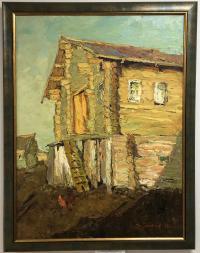 Картина Бревенчатый дом 80*60, холст масло Владимир Пентюх