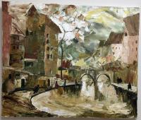 Картина Осенний город холст масло